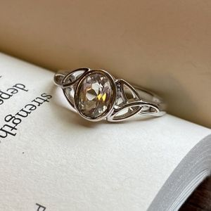 White Topaz and Silver Ring